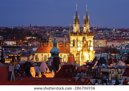 Aerial view of Prague (Czech Republic) in the sunset. The cathedral. - stock photo