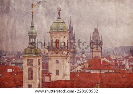 Aerial view of Prague from Prague Castle. Prague, Czech Republic. Retro-toned photo - stock photo