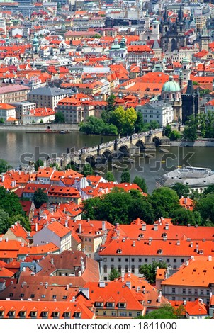 Aerial view of Prague old town, Czech