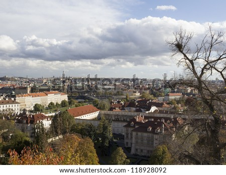 aerial view of Prague, the capital of the Czech Republic at autumn time