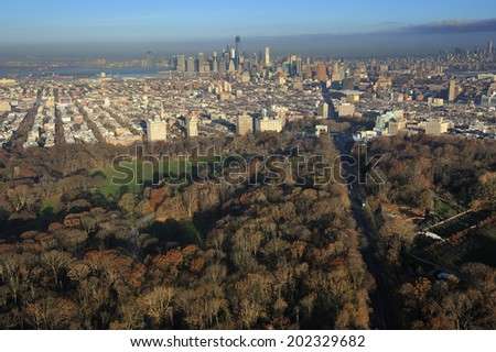 Aerial view of Prospect Park and downtown Brooklyn, New York