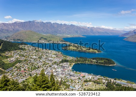 Aerial view of Queenstown and The Remarkables in South Island, New Zealand.