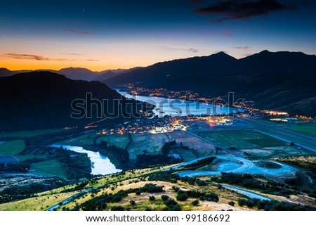 Aerial view of Queenstown, New Zealand - stock photo
