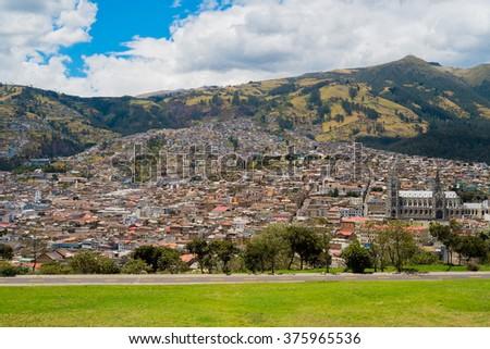 Aerial view of Quito downtown, Ecuador - stock photo