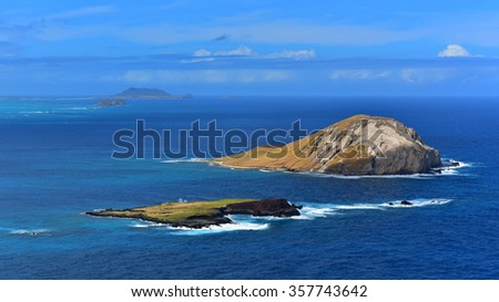 Aerial view of Rabbit Island and Kaohikaipu Island in Oahu, Hawaii - stock photo