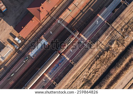aerial view of railway station in Poland - stock photo