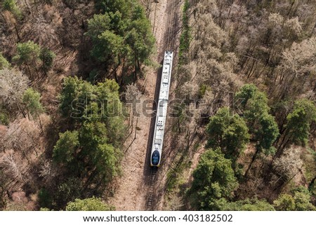 aerial view of railway tracks in Poland - stock photo
