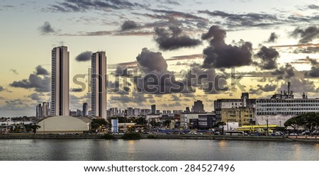 Aerial view of Recife in Pernambuco, Brazil at sunset. - stock photo