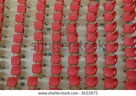 Aerial view of red chairs - stock photo