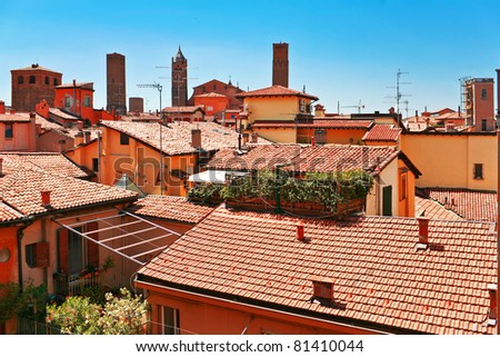Aerial view of red roofs in Bologna. Italy - stock photo