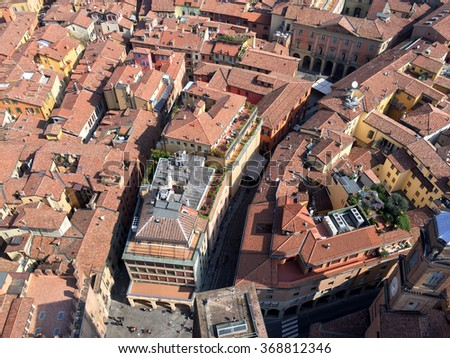 Aerial view of red rooftops in Bologna, Italy - landscape photo - stock photo