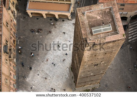 Aerial view of red tiled rooftops and ancient �?�«Due Torri�?�» towers in historical center of Bologna, Italy