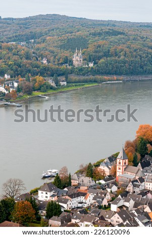 Aerial view of Remagen taken from the Erpeler Ley, one of the seven hills of the Sieben Berge range in Germany - stock photo