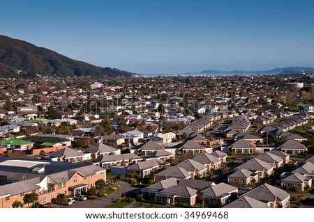 Aerial view of residential area - stock photo