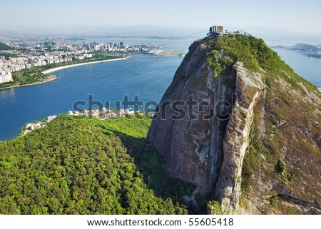 Aerial view of Rio De Janeiro and Sugarloaf Mountain - stock photo