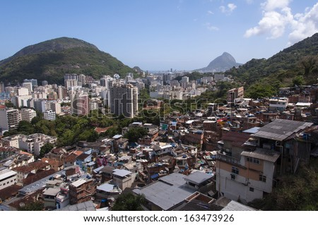 Aerial view of Rio de Janeiro Botafogo district from the Santa Marta slum. - stock photo