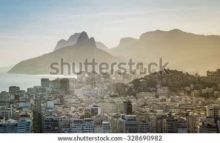 Aerial view of Rio de Janeiro buildings with Ipanema Beach, Brazil. Afternoon light - stock photo
