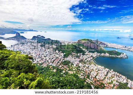Aerial view of Rio de Janeiro city, Brazil - stock photo