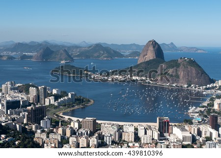 Aerial View of Rio De Janeiro looking towards Sugarloaf Mountain and the Atlantic