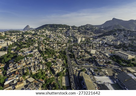 Aerial view of Rio de Janeiro with highway and Sambodromo, Brazil - stock photo