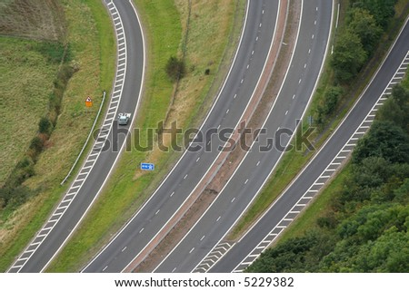 aerial view of road junction - stock photo