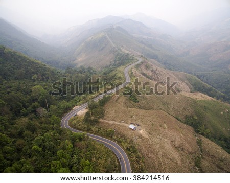 Aerial View of Road on the Mountain