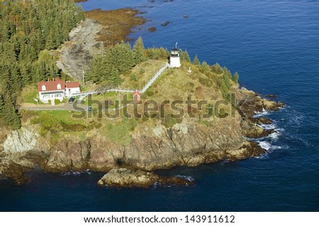 Aerial view of Rockland Maine with Owl's Head Lighthouse - stock photo