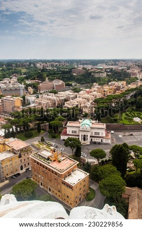 Aerial view of Rome and part of Vatican gardens, Italy - stock photo