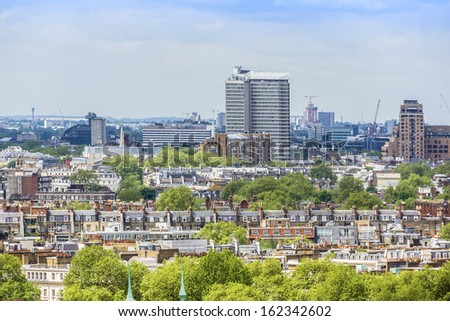 Aerial View of Roofs and Houses of London, UK. - stock photo