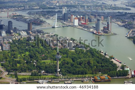 aerial view of rotterdam - stock photo