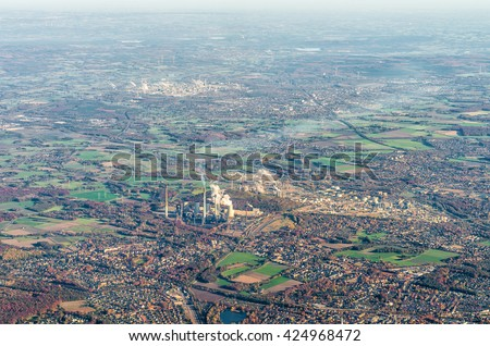 Aerial view of Ruhr district, coal powered power plant and oil refinery in Gelsenkirchen, Germany - stock photo