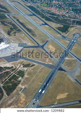 Aerial view of runway on major airport - stock photo