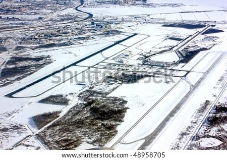 Aerial view of runways. St. Peterburg - stock photo