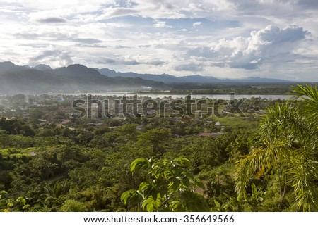 Aerial view of Rurrenabaque, the gateway to the Bolivian Amazon rainforest - stock photo