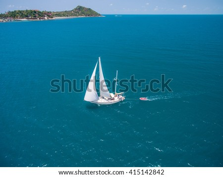 Aerial view of sailing in Koh Phangan, Thailand - stock photo