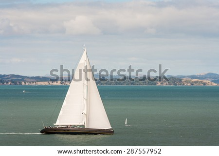 aerial view of sailing yacht - stock photo