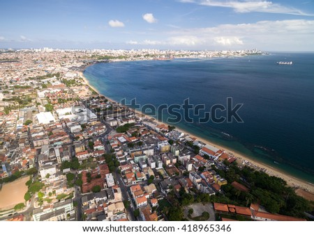 Aerial View of Salvador Coastline, Bahia, Brazil - stock photo