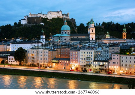 Aerial View of Salzburg, Austria, Europe - stock photo