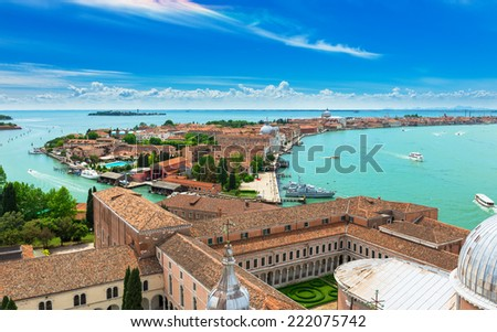 Aerial view of San Giorgio Maggiore and Giudecca islands in Venice, Italy - stock photo