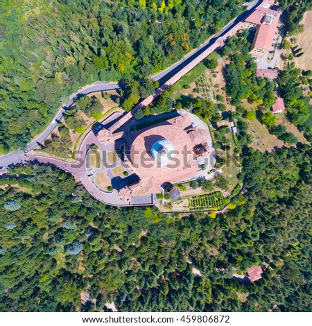 Aerial view of San Luca, Bologna. - stock photo