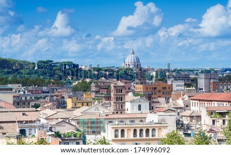 Aerial view of San Peter basilica, Rome, Italy - stock photo