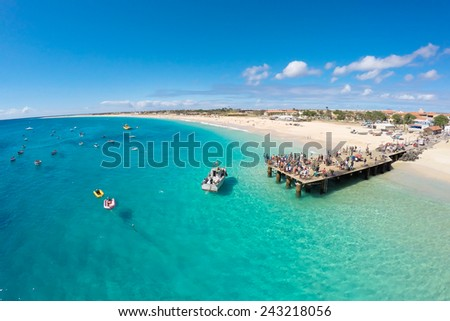 Aerial view of Santa Maria beach in Sal Cape Verde - Cabo Verde - stock photo