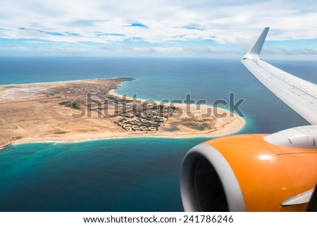 Aerial view of Santa Maria in Sal Island Cape Verde - Cabo Verde - stock photo