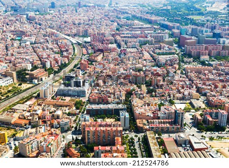 Aerial view of Sants-Montjuic residential district. Barcelona, Catalonia  - stock photo