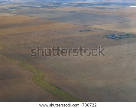 aerial view of saskatchewan fields - stock photo