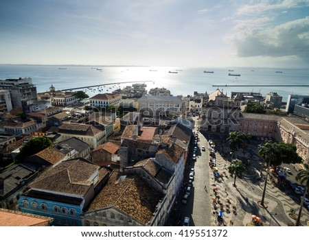 Aerial view of Se Square in Salvador, Bahia, Brazil - stock photo