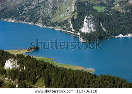 Aerial view of Segl Lake  near St Moritz - Engadin valley - Switzerland