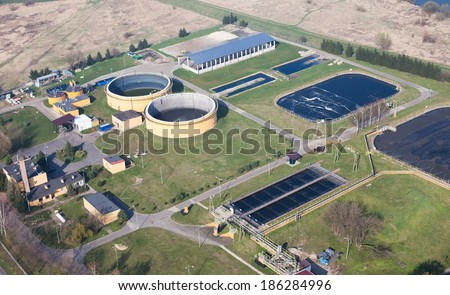 aerial view of  sewage treatment plant  - stock photo