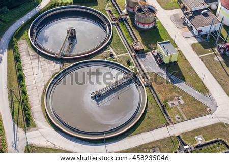 aerial view of sewage treatment plant in Nysa city in Poland - stock photo