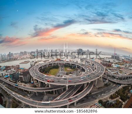 aerial view of shanghai nanpu bridge in sunset  ,China  - stock photo